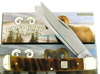 "Rough Rider Rams Horn Trapper 4"" Folder Etching Blade Knife RR1509"