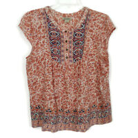 Lucky Brand Babydoll Top Womens Size Large Cotton Modal Blend Cap Sleeves FLAW
