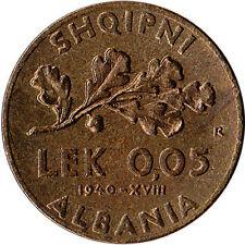 1940 Albania 0.05 Lek Coin WWII Italian Occupation KM#27 High Grade