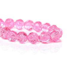 8mm PINK Crackle Glass beads fct Round Glass beads dbl strnd 100+ beads bgl1594