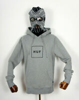 Huf Worldwide Hooded Hood Sweatshirt Hoodie Pullover Box Logo PO Grey Heather M
