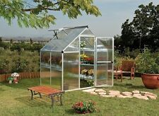 6 x 4ft Greenhouse with Twin Wall Polycarbonate Aluminum with Base Vent Gutters