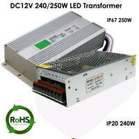 AC DC 12V 20A IP67/IP20 Power Supply Adapter Transformer Regulated LED Strip UK