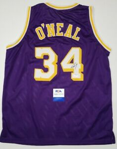 SHAQUILLE O'NEAL Signed LOS ANGELES LAKERS Custom Jersey SZ XL. WITNESS PSA/DNA