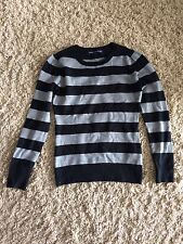 French Connection Women's Sweater Size Medium Black Gray Striped Long Sleeve