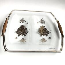 "Georges Briard Signed 22kt Gold ""Love Birds"" Doves Divided Tray Teak Handles Mcm"