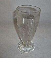 "Jeannette Iris and Herringbone Footed Tumbler    Clear   6 5/8 """