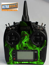 Spektrum DX9 DX8 DX7S Transmitter Controller Green Fire Skin Wrap Decal Radio