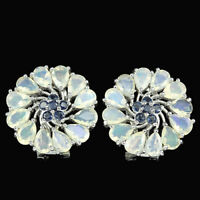REAL RAINBOW OPAL & BLUE SAPPHIRE PEAR ROUND STERLING 925 SILVER FLOWER EARRING