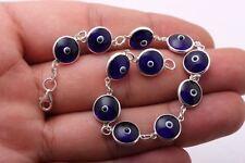Turkish Handmade Blue Nazar Evil Eye 925 Sterling Silver Genuine Bracelet