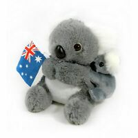 JUMBACK GREY KOALA & BABY WITH FLAG SOFT ANIMAL PLUSH TOY 21cm **NEW**