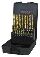 Terrax by RUKO, 19pcs. Ground Drill Bit Set, HSS-G TiN, 1-10mm, Titanium Coating