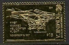 2772 Dominica 1978 HISTORY of AVIATION in GOLD FOIL - CORNER's HELICOPTER u/m