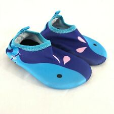 L Run Toddler Boys Water Shoes Slip On Barefoot Whale Blue Size 19/20 US 3/4