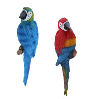 2x Lifelike Bird Ornament Figurine Parrot 31cm Sculpture Decor Red & Blue