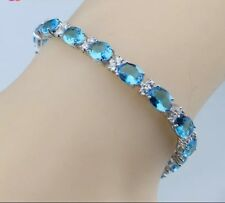 "925 Sterling Silver Natural Blue & White Topaz Tennis Bracelet , Bangle. 7"""