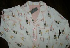 NWT PJ Salvage Ivory/Pink CHAMPAGNE TOAST Jersey Knit Pajama/Lounge Set M PARTY!