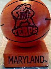 Maryland Terrapins Collectible Engraved Wood Basketball Paperweight