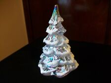 """Fenton Christmas Tree Clear Iridescent Frosted Snow 6"""" Light Gold Top"""