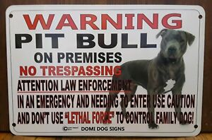 """Metal Warning Pit Bull Dog Sign For FENCE ,Beware Of Dog 8""""x12"""""""