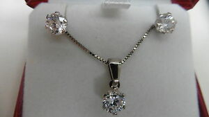 new sterling silver box chain pendant solitaire earrings white birth stone APRIL