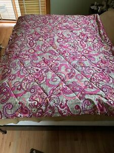 Vera Bradley Twin Size Reversible Floral Pink and Grey Paisley Comforter