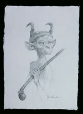 More details for pencil drawing of pixie with talon head-dress by erwin saunders - a4 size