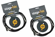 """2 10' ft Headphone Extension Cables for Roland Hearback Aviom A16   1/4"""" - 3.5m"""