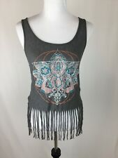 About A Girl Gray Burnout Fringe Floral Print Crop Tank Top-Women's Size Small