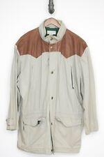VTG Banana Republic Cotton Coat XL Western Leather Yoke Hidden Hood Jacket