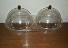 Vintage futuristic clear Acrylic Plastic Display party food server w/ dome lids