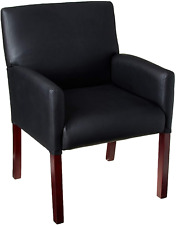 New listing Boss Office Products Reception Box Arm Chair With Mahogany Finish In Black
