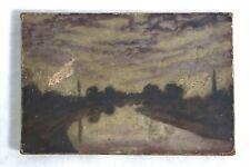 Antique 19th century Liffey River Ireland Impressionist Landscape Oil Painting