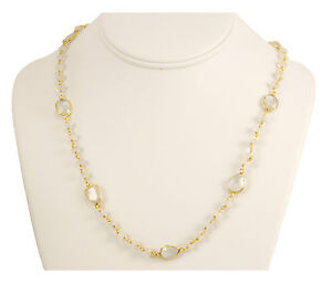 Blue Rainbow Moonstone Faceted Necklace beaded 14k gold chain Vermeil Bezel 24