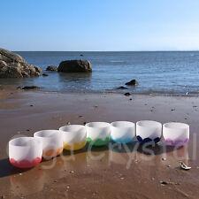 8 Inch 7 Pieces of Different Notes Quartz Crystal Singing Bowl Set Lotus Chakra