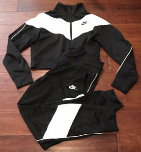 Nike Women's Heritage Black White Sweat Jump Tracksuit Crop Jacket Sz L