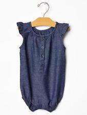 Gap Baby Girl Size 3-6 Months Blue Chambray Denim Flutter Romper One-Piece