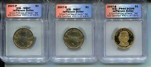 2007-P/D/S Thomas Jefferson Presidential Dollar Set - ICG MS67/MS67/PR69 DCAM