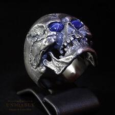 Cute Face Biker SKULL Ring Star Sapphire SIZE 10 Sterling Silver Harley Handmade
