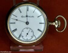 c 1888 ELGIN 18S POCKET WATCH 15 JEWELS GOLD FILLED OPEN FACE FULLY SERVICED