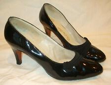Vtg DeLiso Debs Black Patent Leather/Fabric Pumps Heels Shoe Retro~8B