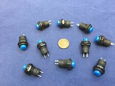10 Pieces BLUE Momentary 12mm pushbutton Switch round push button 12v on off b22