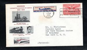 1951 Sc #C40 6¢ Air Mail stamp & air mail label & hire handcapped slogan cancel