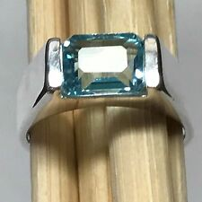 Genuine 2ct Emerald Cut Blue Topaz 925 Solid Sterling Silver Men's Ring sz 8