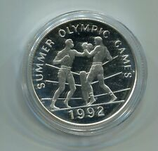 Jamaica 25 Dollars Sommerolympiade Boxen 1992 Silber PP (M1433)