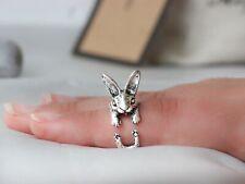 Adjustable Antique Silver Bunny Ring