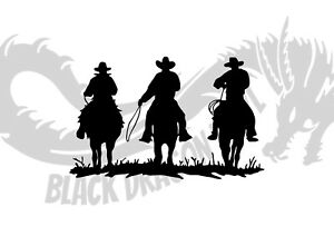 Three Cowboys Wild West Bedroom Horse Riding Wall Art Decal Vinyl Sticker