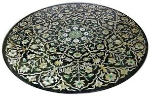 Luxurious Pattern Inlaid Black Dinette Table Top Marble Coffee Table 30 Inches