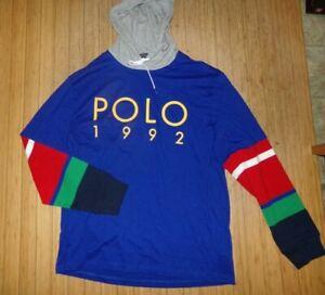 NWT MEN'S Polo Ralph Lauren L/S Hooded T-SHIRT~BLUE~XXL