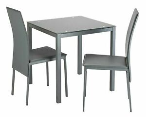 Home Lido Glass Dining Table & 2 Grey Chairs